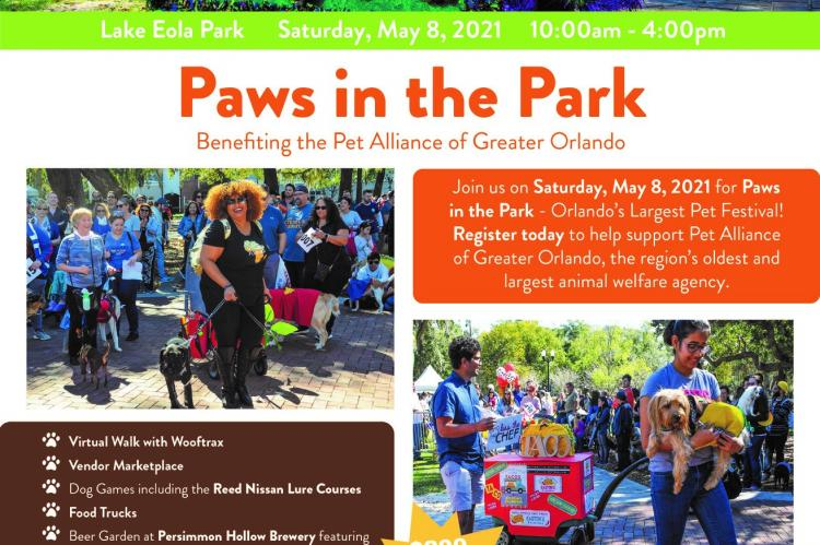 "Pet Alliance Of Greater Orlando Announces The 27th Annual Paws In The Park"" Pet Festival Returning To Lake Eola Park In Downtown Orlando On Saturday May 8 2021"
